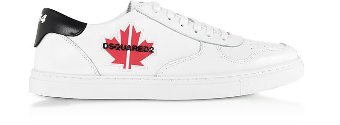 Men's Black & White Calf Leather Sneakers - DSquared D二次方