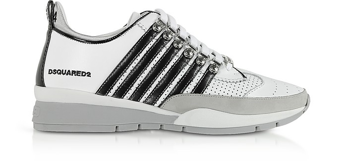 Men's Black & White Calf Leather and Nappa Sneakers - DSquared