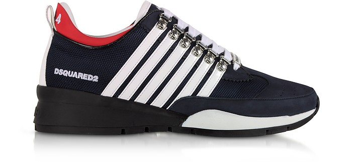 Men's Navy Blue & White Nylon, Nubuck and Rubber Sneakers