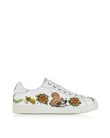 Embroidered White Leather Men's Sneakers - DSquared2