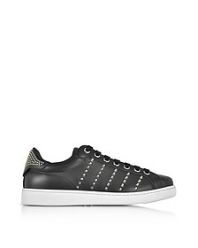 Black Leather Men's Sneakers w/Studs - DSquared2