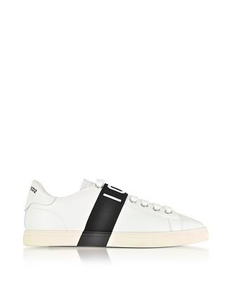 64a3c789 Icon - Белые Мужские Кожаные Кроссовки с Черной Полоской - DSquared