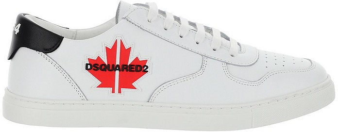 White Leather Low Top Sneakers - DSquared2