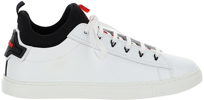 White leather  Low Top Sneakers w/Black Inner Sock - DSquared2
