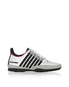251 - Sneakers Basses Homme en Cuir Blanc et Verni Noir/Rouge - DSquared2