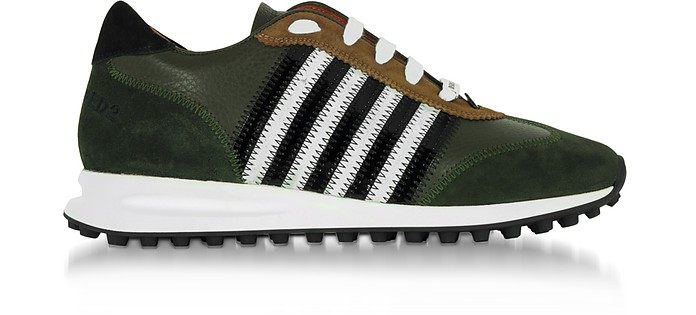 44f8bbb4193e62 DSquared2 Green Leather and Suede New Running Hiking Men's Sneakers ...