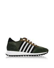 New Running Hiking Sneaker in Pelle e Suede Verde Bosco - DSquared2
