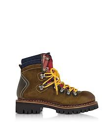 New Saint Moritz - Boots Homme en Suède Marron et Tissu à Carreaux - DSquared2