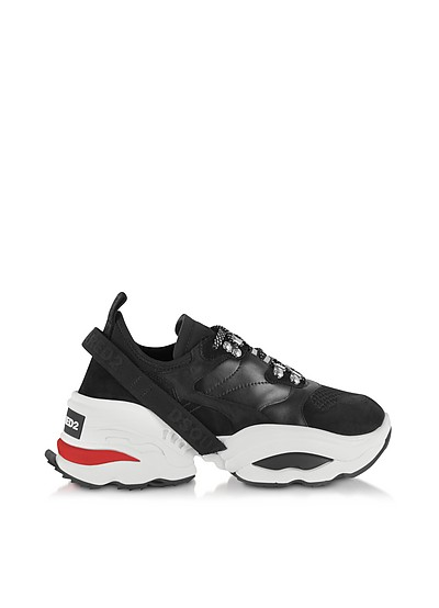 Mesh, Calf Leather and Neoprene Men's Sneakers - DSquared2