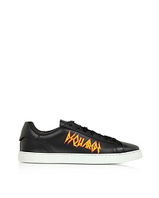 Black Leather Sneakers w/ Rock Print