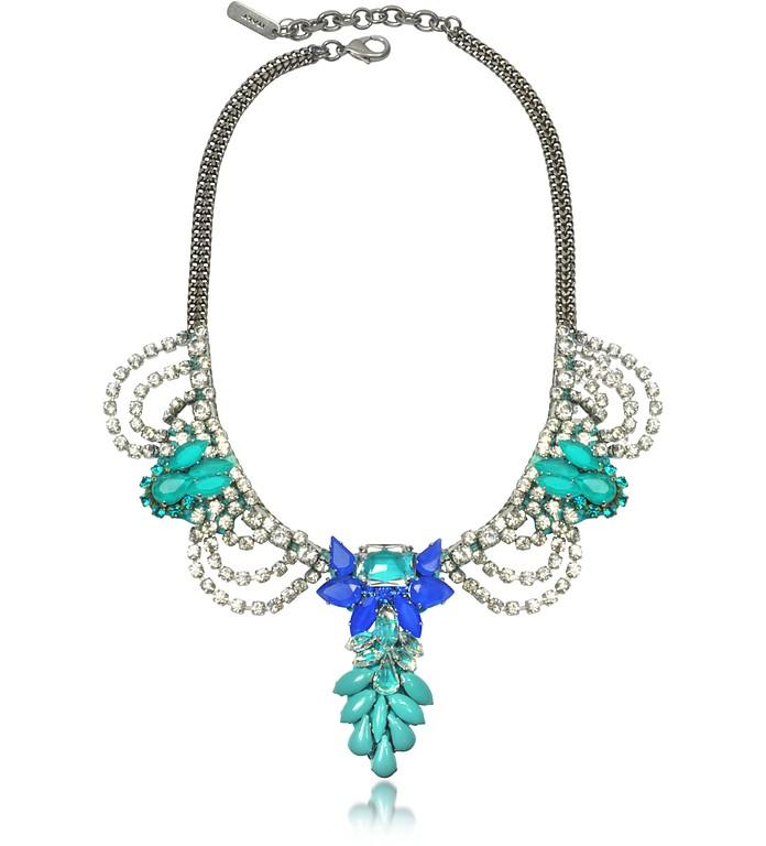 Aqua Green and Blue Crystals Necklace - Radà