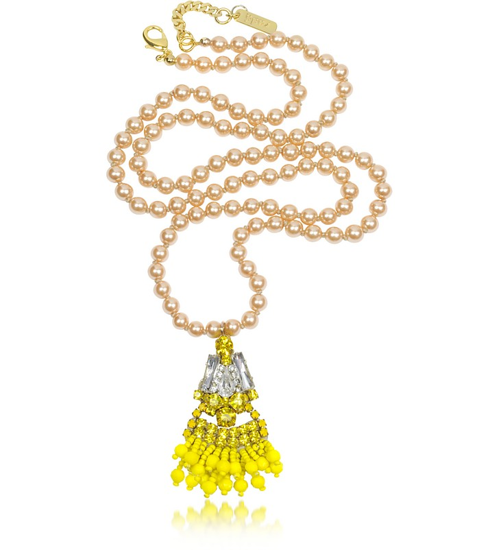 Yellow Crystal And Glass Pearl Charm Long Necklace - Radà