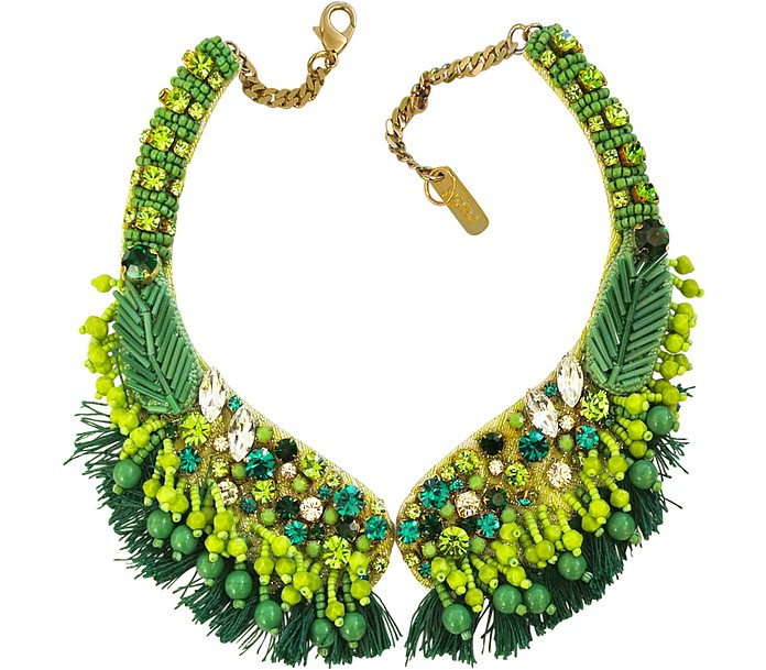 Green Crystal and Bead Fringed Necklace - Radà