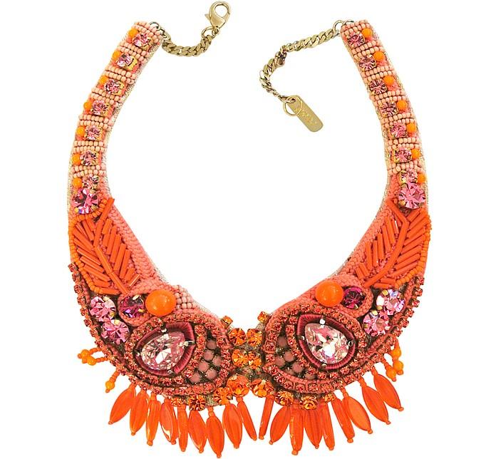 Orange Crystal and Bead Choker Necklace - Radà