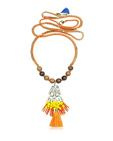 Golden Chain and Orange Satin Long Necklace w/ Pendant