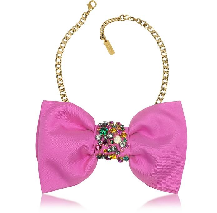 Figaro Fuchsia Silk Bow Tie Choker - Radà