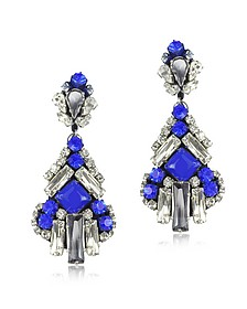 Electric Blue Crystals Drop Earrings