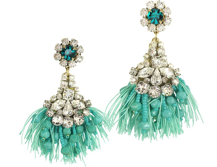 Crystals Fringed Drop Earrings - Radà