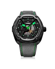 OT-1 316L Steel And Forged Carbon Men's Watch w/Green Luminova and Gray Suede Strap - Dietrich