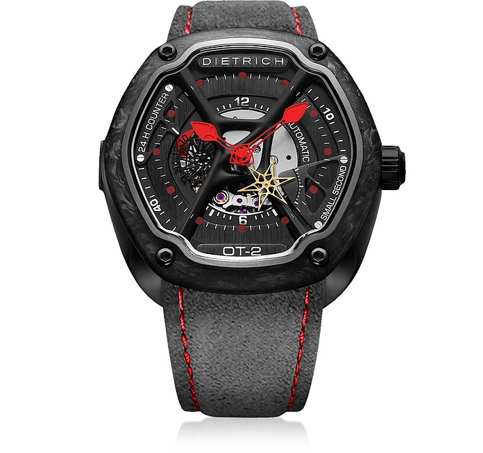 OT-2 316L Steel And Forged Carbon Men's Watch w/Red Luminova and Gray Suede Strap - Dietrich