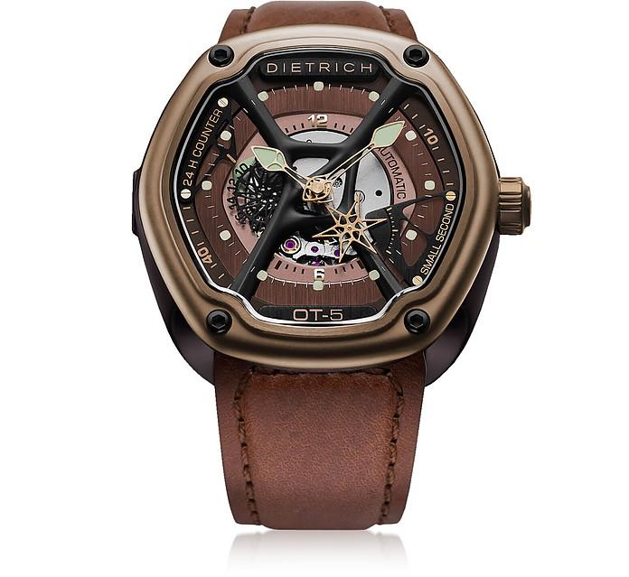 OT-5 316L Bronze Steel Men's Watch w/Luminova and Brown Leather Strap - Dietrich