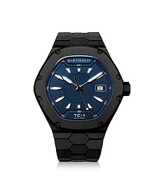 TC-1 Black PVD Stainless Steel w/White Luminova and Blue Dial - Dietrich