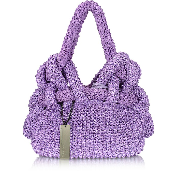 Anemone - Knit Raffia and Nylon Shoulder Bag - David & Scotti