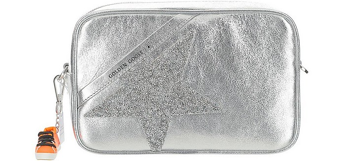 Silver Laminated Leather Crossbody Bag - Golden Goose