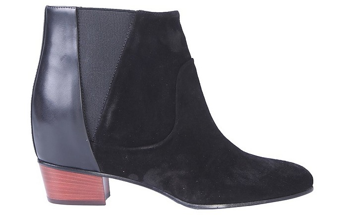 Black Suede and Leather Mid-Heel Dana Boots - Golden Goose