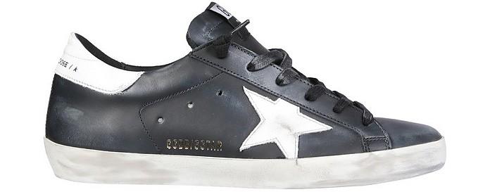 Superstar Black Distressed Leather Women's Sneakers - Golden Goose / ゴールデングース