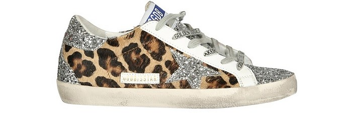 Animal Print Hair-Calf and Glitter Superstar Sneakers - Golden Goose