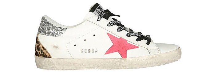 White Distressed Leather Superstar Sneakers w/Glitter - Golden Goose