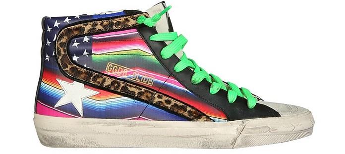 Black and Rainbow Fabric High Top Women's Sneakers - Golden Goose / ゴールデングース