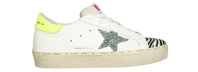 White and Yellow Distressed Leather Superstar Sneakers - Golden Goose / ゴールデングース