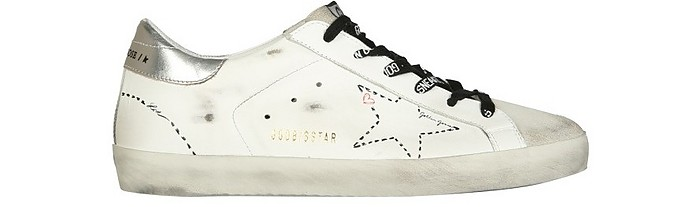 White and Silver Distressed Leather Superstar Sneakers - Golden Goose / ゴールデングース