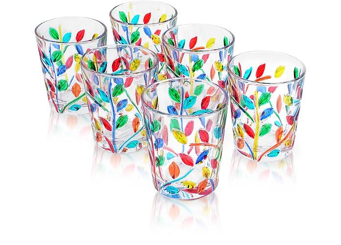 Sospiri - Multicolor Hand Decorated Murano Shot Glass Set of Six - Due Zeta