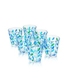 Sospiri - Blue Hand Decorated Murano Shot Glass Set of Six - Due Zeta