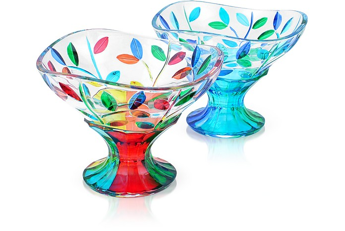 San Marco - Dessertschüssel aus Muranoglas von Hand dekoriert - Due Zeta