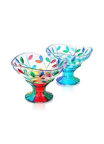 San Marco - Hand Decorated Murano Glass Dessert Bowl  - Due Zeta