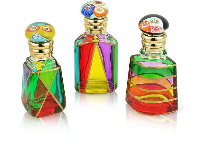 Marco Polo - Hand Decorated Murano Glass Murrina-Capped Perfume Bottles - Due Zeta