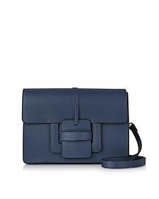 Navy Leather Shoulder Bag - Le Parmentier