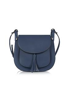Buttercup Navy Leather Crossbody Bag - Le Parmentier