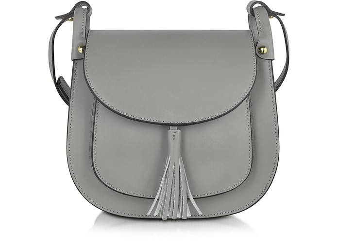 Buttercup Gray Leather Crossbody Bag - Le Parmentier