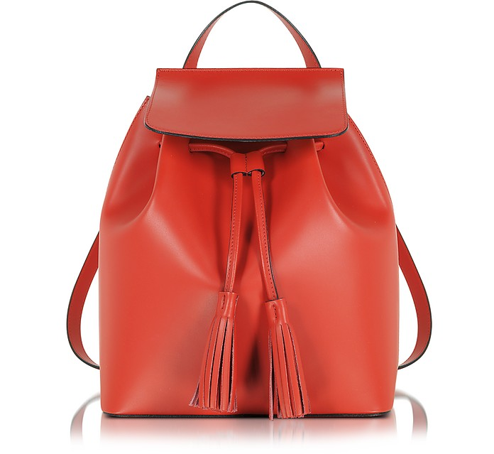Red Leather Backpack - Le Parmentier