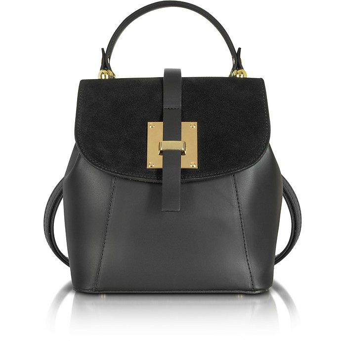 Palazia Black Suede and Leather Small Backpack - Le Parmentier