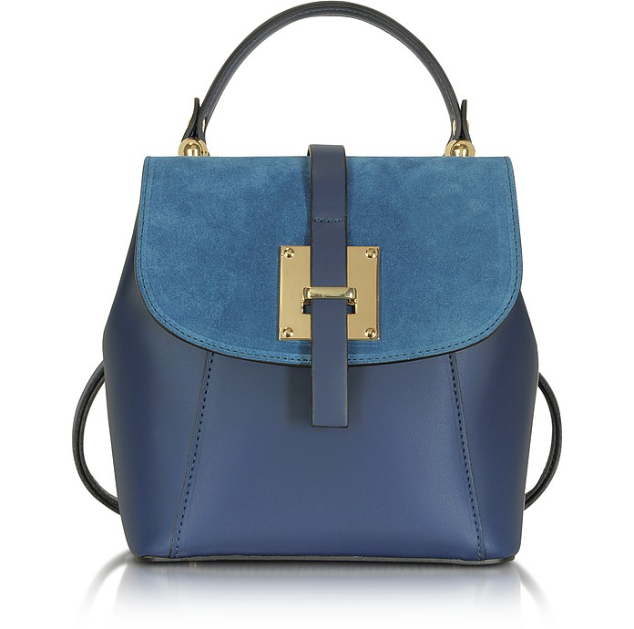 Palazia Midnight Blue Suede and Leather Small Backpack - Le Parmentier