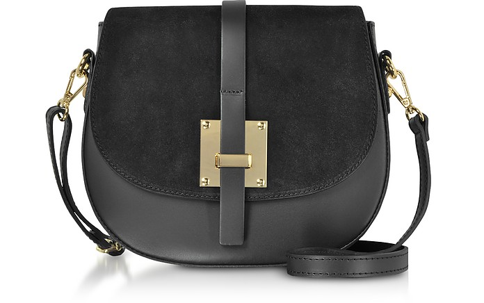 Pollia Black Leather and Suede Crossbody Bag - Le Parmentier