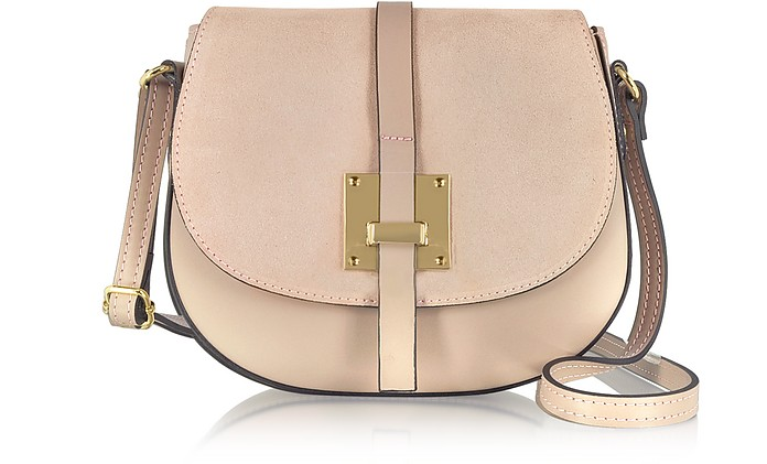 Pollia Nude Leather and Suede Crossbody Bag - Le Parmentier