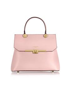 Atlanta Candy Pink Leather Top Handle Satchel Bag w/Shoulder Strap - Le Parmentier