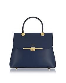 Atlanta Navy Blue Leather Top Handle Satchel Bag w/Shoulder Strap - Le Parmentier